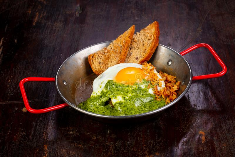 Fried egg with pesto. And bread royalty free stock image
