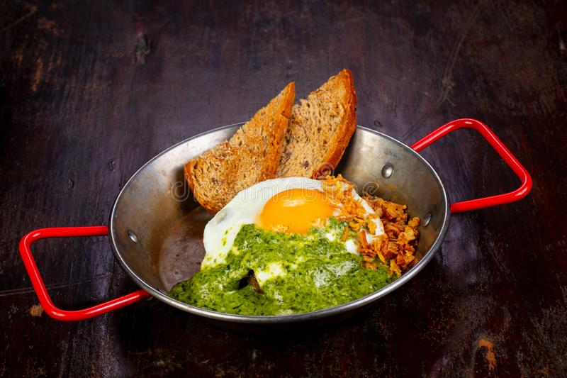 Fried egg with pesto. And bread royalty free stock photography