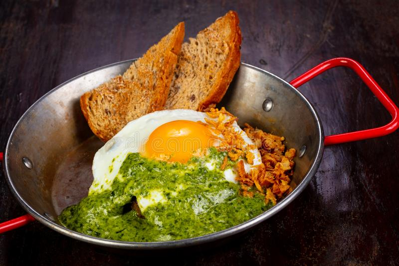 Fried egg with pesto. And bread stock photography