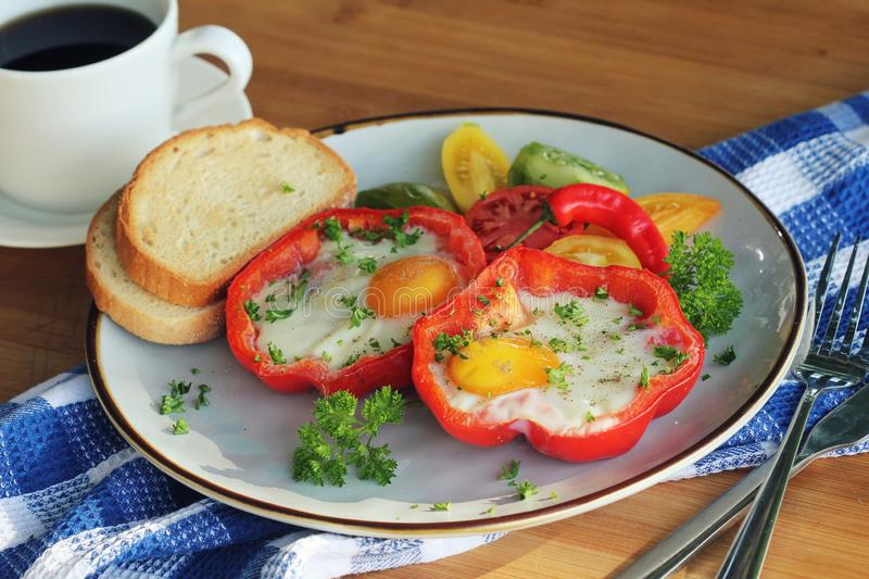 Fried egg in the ring of the bell peppers with herbs. Colorful healthy breakfast royalty free stock photos