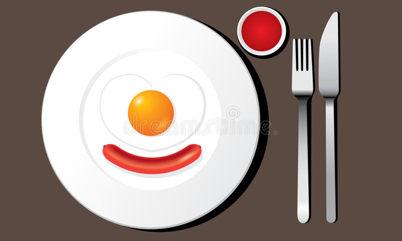 Fried egg and sausage on white plate vector. The abstract of Fried egg heart shaped and sausage on white plate vector in ai versions (ai/10), vector format stock illustration