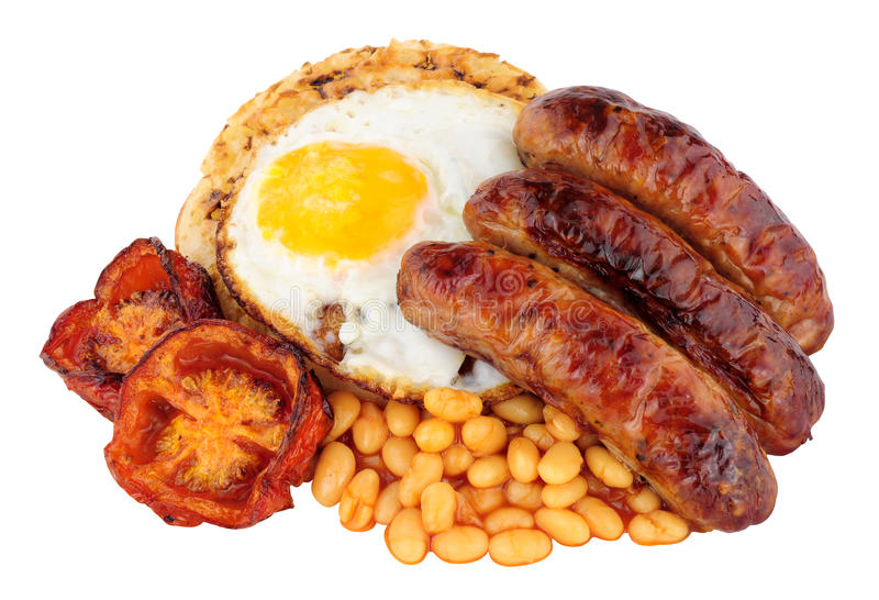 Fried Egg And Sausages On un crumpet anglais photos stock