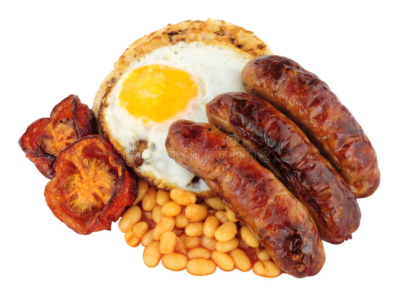 Fried Egg And Sausages On un crumpet anglais images stock