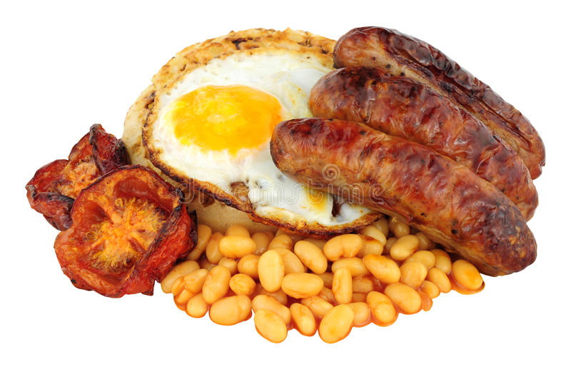 Fried Egg And Sausages On un crumpet anglais photographie stock
