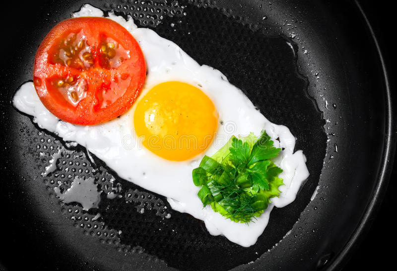 Fried egg in shape of Traffic Light royalty free stock images