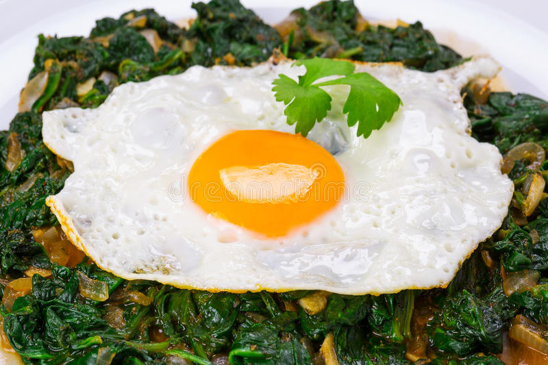Download Fried egg on spinach stock image. Image of closeup, calorie - 35357057