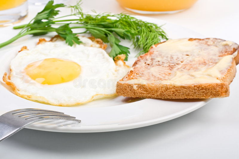 Fried egg and a toast close-up. Fried egg and a buttered toast with dill close-up on a white plate royalty free stock images