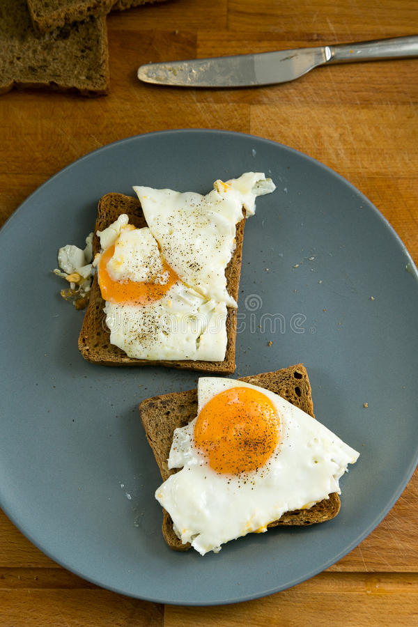 Fried Egg on Toast royalty free stock photography