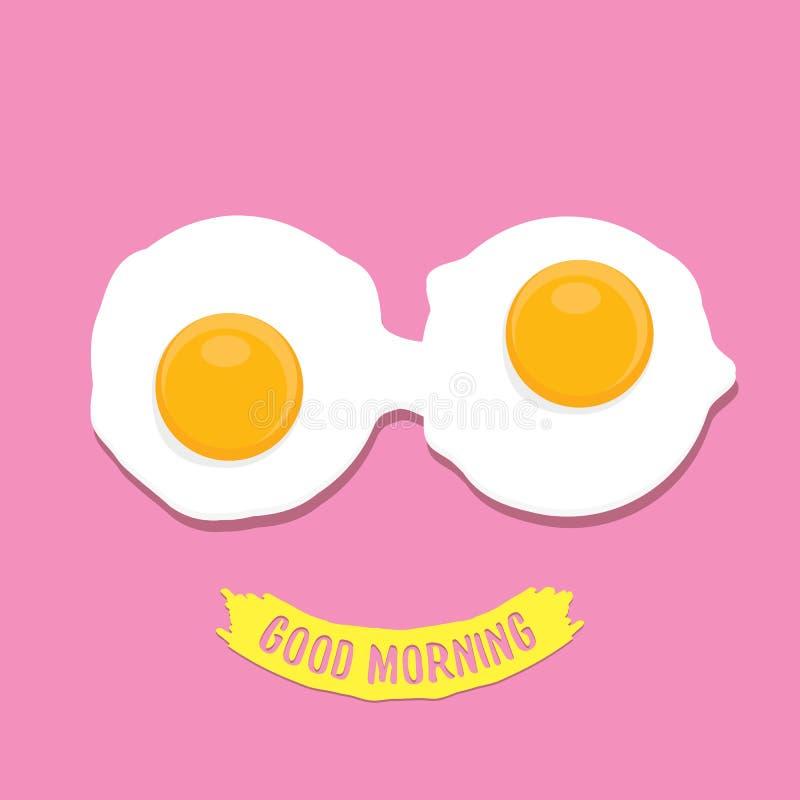 Fried Egg vektorillustration Begrepp för bra morgon frukostera stekt kycklingägget med en orange äggula i mitten av royaltyfri illustrationer