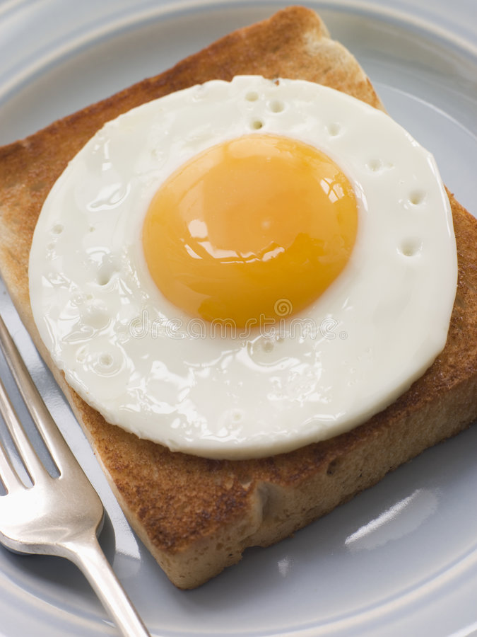 Fried Egg on White Toast. On a Plate with Fork royalty free stock photos