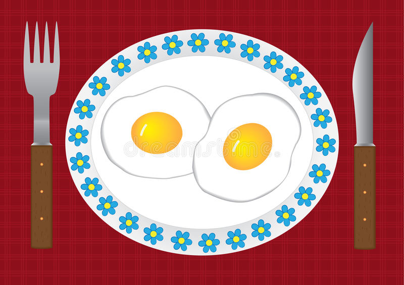 Download Fried Eggs stock vector. Image of table, yolk, dishware - 12115731