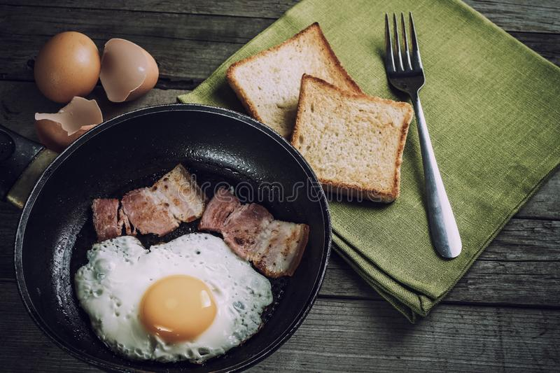 Fried Eggs And Bacon royalty-vrije stock foto's