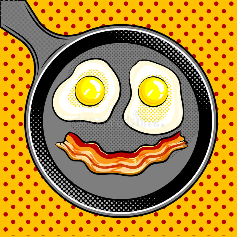 Fried eggs bacon looks like smile pop art vector. Fried eggs bacon looks like smile pop art hand drawn vector illustration royalty free illustration