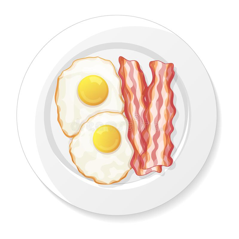Cartoon Breakfast With Bacon , Fried Eggs And Stock Vector