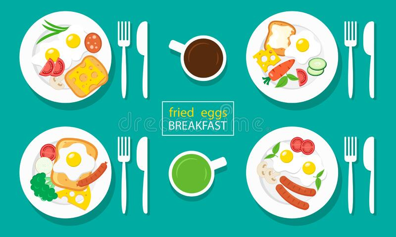 Fried eggs breakfast. Sausages, toasts, cheeses, vegetables. Coffee and tea. Vector stock illustration