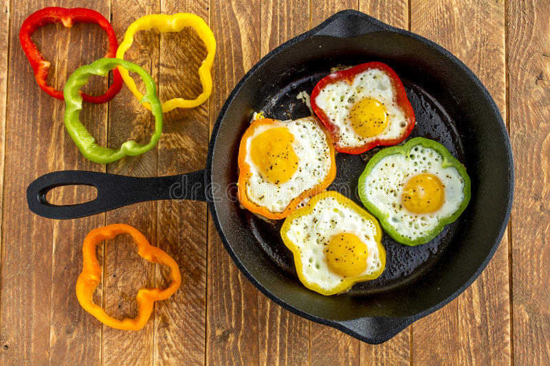 Fried Eggs in Cast Iron Skillet royalty free stock photos
