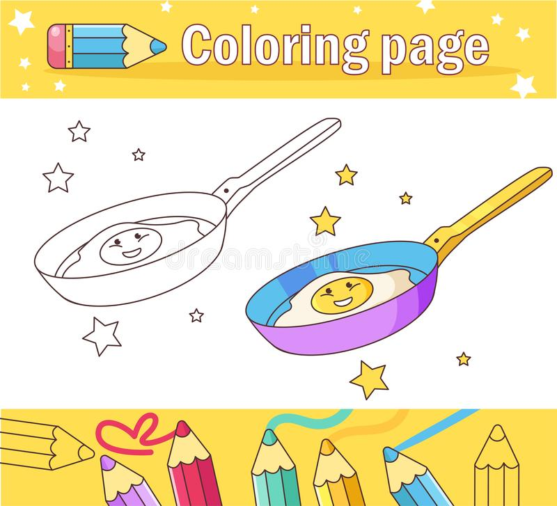 Fried eggs in a frying pan Coloring page for kids Game for children Flat. Fried eggs in a frying pan Coloring page for kids Game for children royalty free illustration