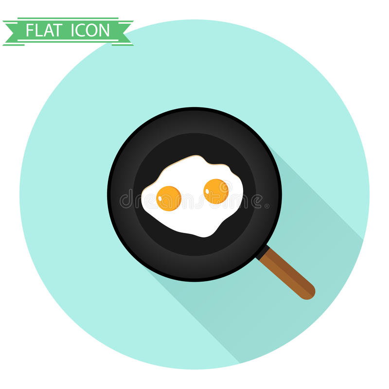 Fried eggs in a frying pan. Flat design, illustration stock illustration