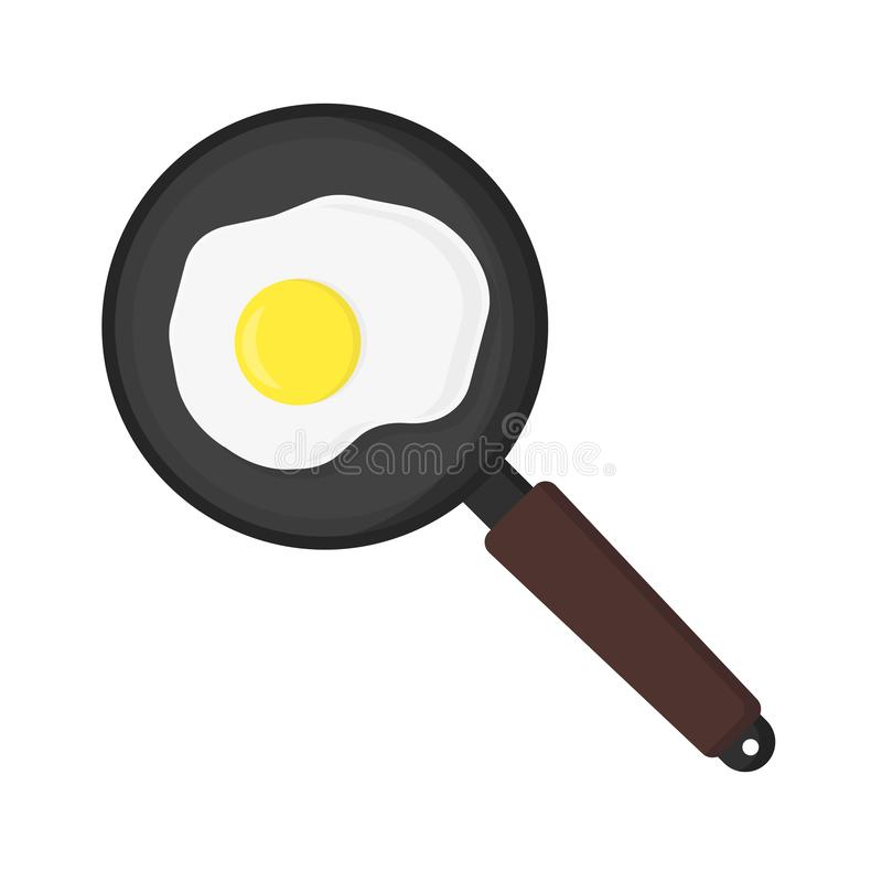 Fried eggs in frying pan on white background. Illustration in flat stock illustration