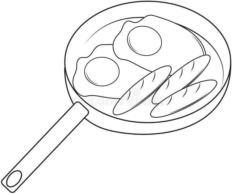Fried Eggs And Hotdog Coloring Page Stock Illustration ...