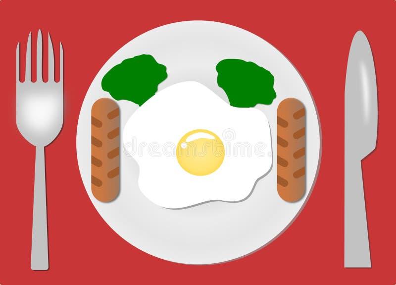 Fried Eggs Plaque, fourchette et couteau Portion de petit d?jeuner Omelette cuite Fond rouge d'isolement Conception pour le vecte illustration libre de droits