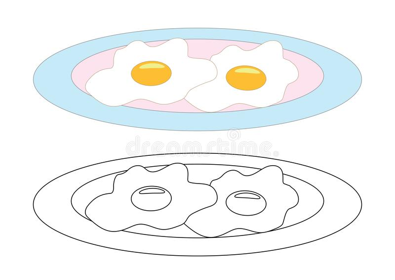 Fried eggs on a plate, coloring page. Vector illustration. royalty free illustration
