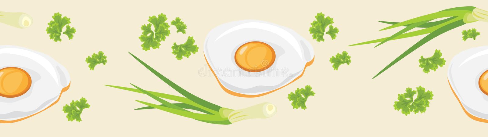 Fried eggs. Seamless banner. Vector royalty free stock photos