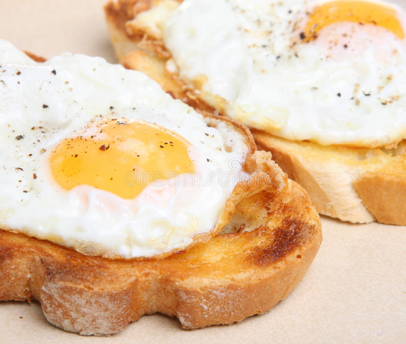 Fried Eggs on Toast. Two fried eggs on thick white crusty buttered toast royalty free stock photography