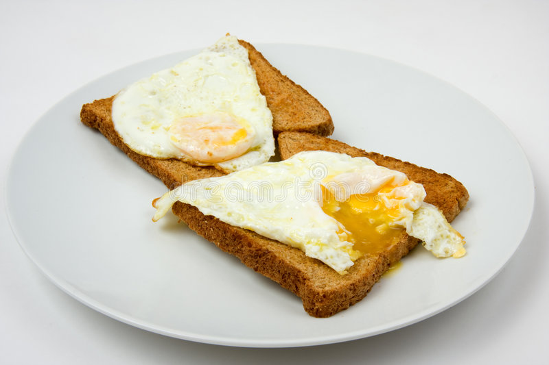 Fried Eggs on Toast. Two fried eggs on toast, sunny side up royalty free stock images