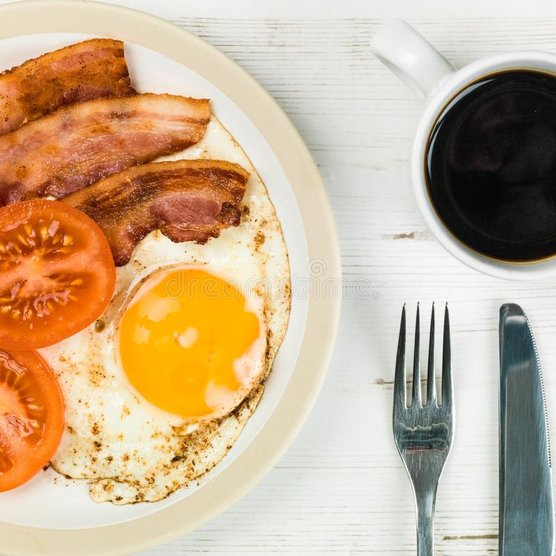 Fried English Breakfast Of Bacon et oeuf photo stock