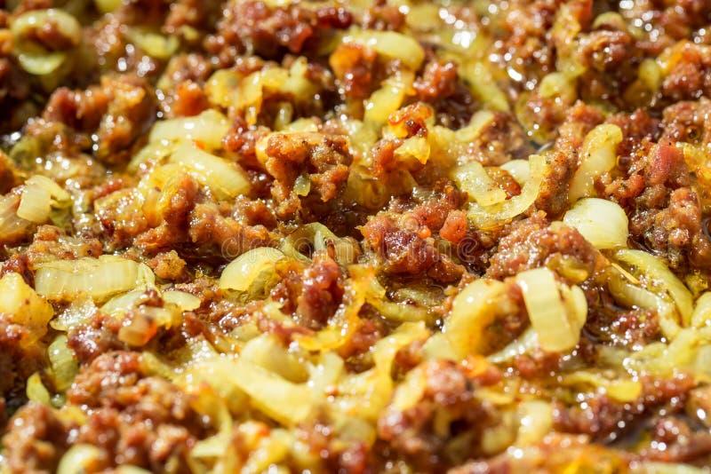 Fried finhackade nötköttkött royaltyfria bilder