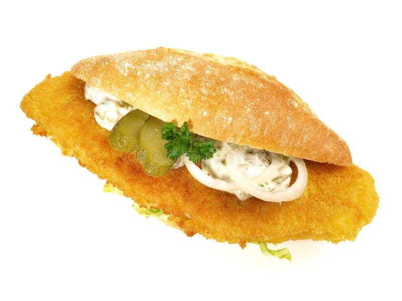 Fried Fish Bun imagem de stock royalty free
