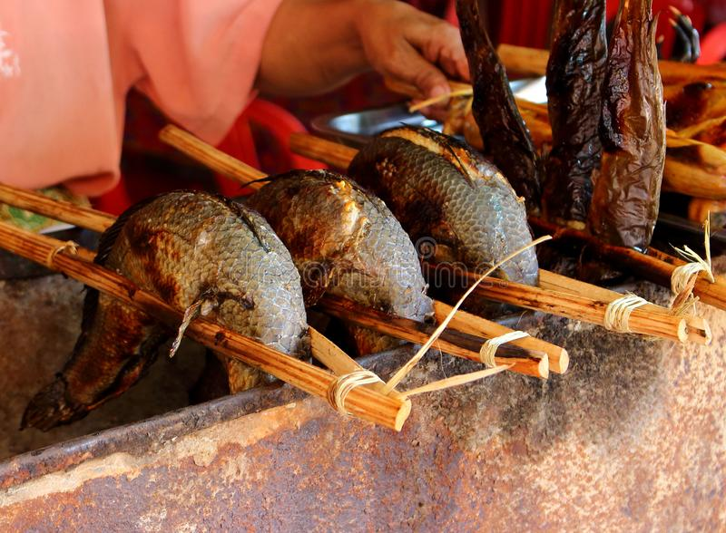 Fried fish on the Cambodian market stock photo
