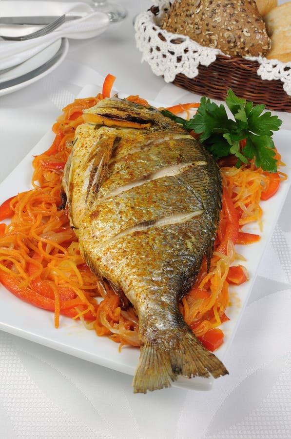 Fried Fish (Dorado) royalty-vrije stock fotografie