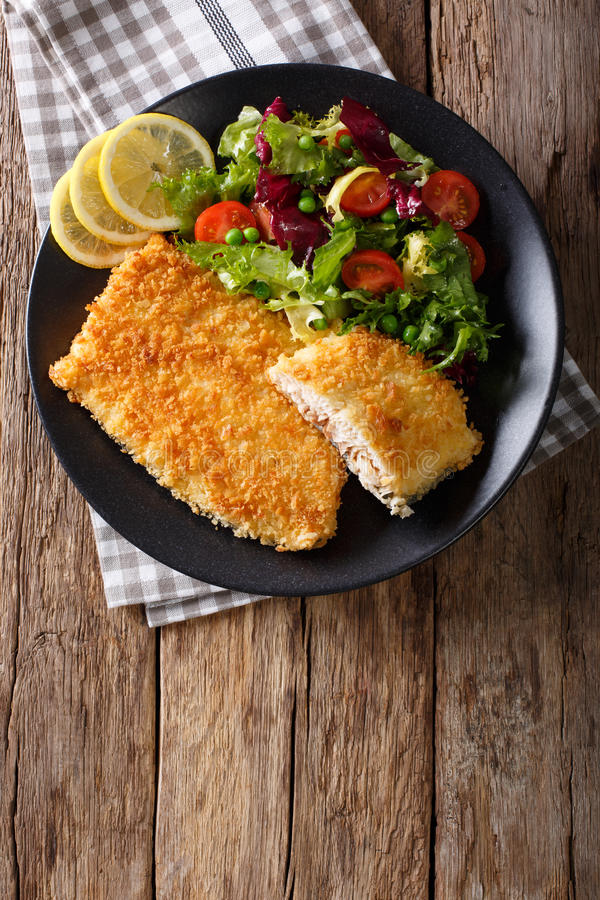 Fried fish fillet in breading and fresh vegetable salad close-up. Vertical top view. Fried fish fillet in breading and fresh vegetable salad close-up on a plate royalty free stock photos