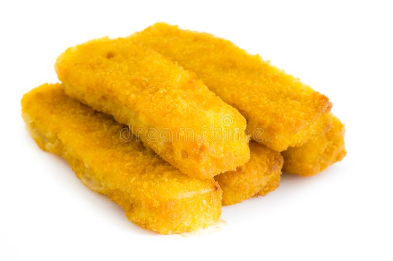 Fried fish fingers isolated on white background royalty free stock images