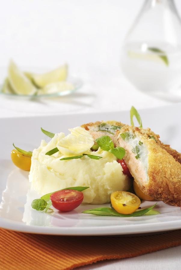 Fried Fish And Mashed Potatoes Stock Photography