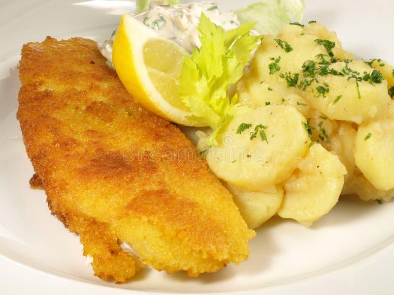 Fried Fish met Aardappelsalade stock foto