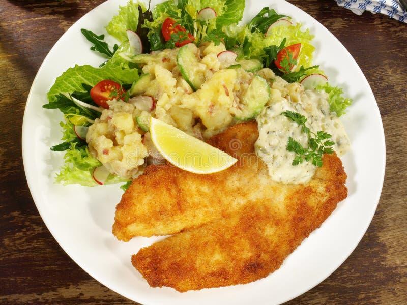Fried Fish met Aardappelsalade royalty-vrije stock foto