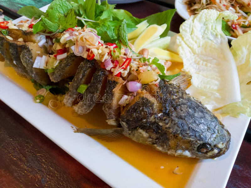 Fried fish with mixed herb. Thai style royalty free stock image