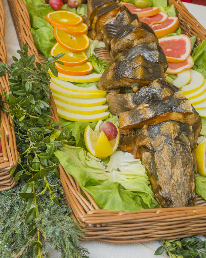 Fried fish on a platter stock image