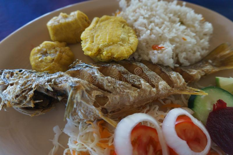 Fried fish with rice and banana. Fried fish dish with white rice and platano in tostones stock image