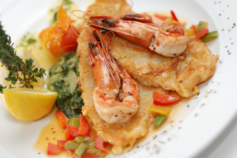 Download Fried fish with shrimps stock photo. Image of sole, fried - 13412628