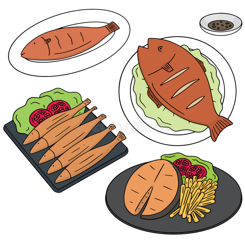 Fried fish. Vector set of fried fish royalty free illustration