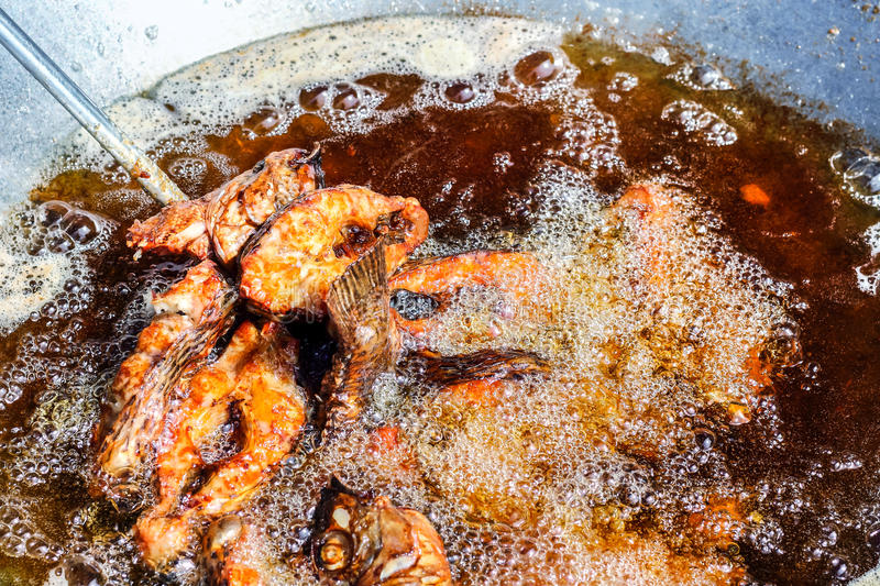 Fried fish with vegetable oil boil. Deep fried crispy fish with vegetable oil boil royalty free stock photo
