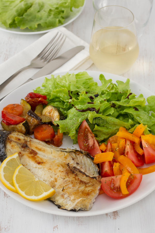 Download Fried fish with vegetables stock photo. Image of dinner - 24588120