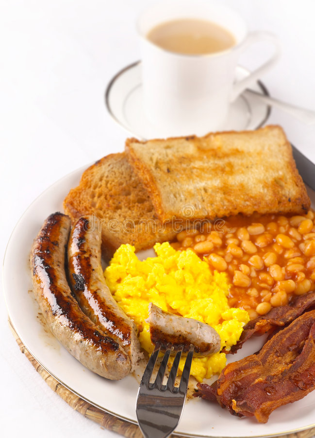Fried food breakfast stock photo