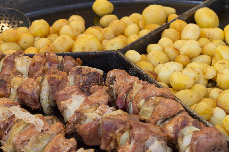 Fried Foods at Jarmark St. Dominic in Gdansk. Poland royalty free stock photos
