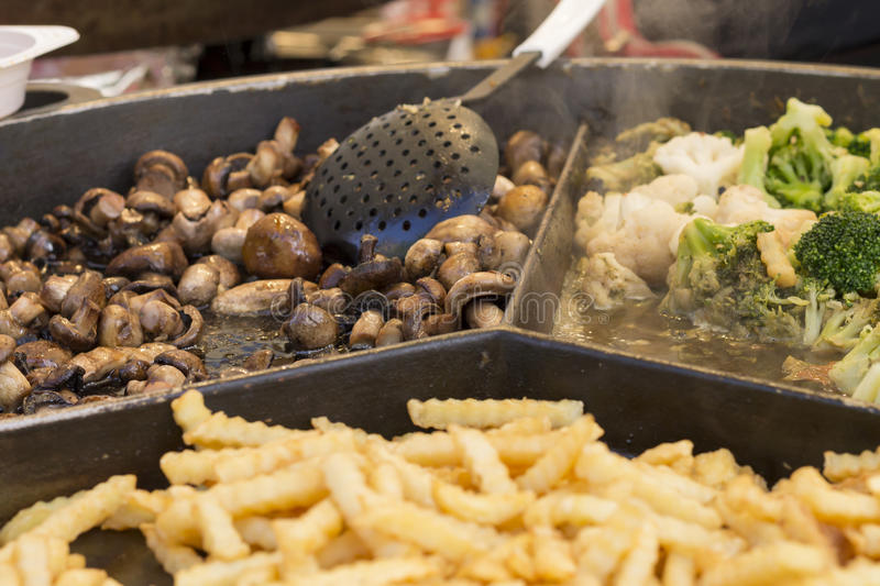 Fried Foods at Jarmark St. Dominic in Gdansk. Poland royalty free stock images