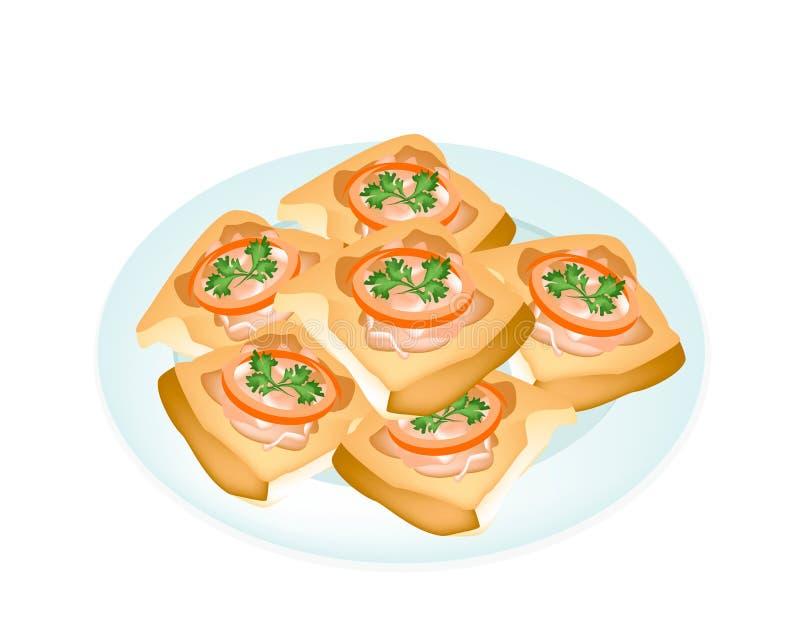Fried French Bread med grisköttspridning i den vita plattan royaltyfri illustrationer